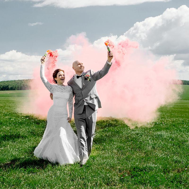 свадьба розовый дым